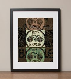 """Rent a Bicycle Aged and Distressed Retro Advertising Poster, 11""""x14"""", No. 001-03"""
