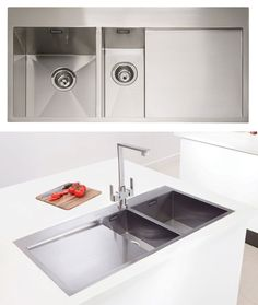 Caple Cubit 150 geometric 1.5 bowl stainless steel kitchen sink. http://www.sinks-taps.com/item-2503-CUBIT_150_1_5_Bowl_Sink.aspx