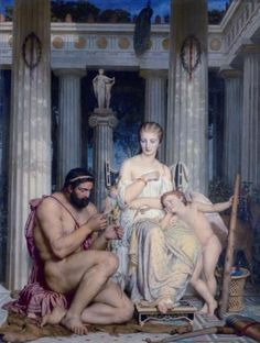 Charles Gleyre, Musée de Neuchatel, Queen Omphale and Heracles Classical Mythology, Roman Mythology, Greek Mythology, Charles Gleyre, Lucas Cranach, Greek Pantheon, Oil On Canvas, Canvas Prints, Famous Art