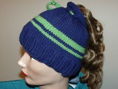 Hand Knit Seattle Seahawks Inspired Pony Cozy by MadMadameHatter