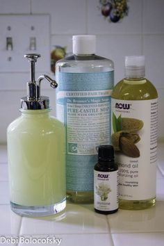 Jasmine Natural Face and Body Wash 8 oz Dr. Bonner's Baby-Mild Castille Soap 8 oz distilled water 1 TB Almond oil 20 drops jasmine fragrance 10 drops geranium essential oil Put all ingredients in a bowl and whisk together. Then pour into a pump bottle.
