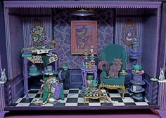 """Collector Miniature 1:12 Scale Roombox """"the Mad Hatter At Home"""" - Alice In…"""