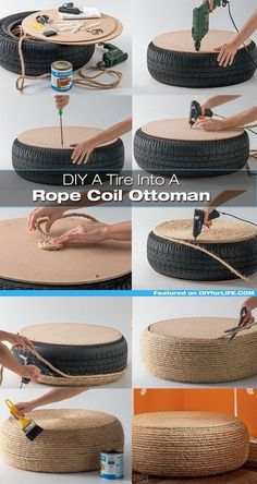 Beautiful DIY Rope Ottoman with a Used Tire - totally making thisPlans of Woodworking Diy Projects - Pneu fauteuil Get A Lifetime Of Project Ideas & Inspiration!rope-tire-ottoman More DIY Posts from DIY for Life Comments commentsRope or get Ikea roun Woodworking Projects Diy, Teds Woodworking, Diy Projects, Project Ideas, Woodworking Techniques, Diy Home Crafts, Diy Home Decor, Rope Crafts, Upcycled Crafts
