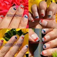 Super chic and easy nail art design! See the step by step nail art video on YouTube VxHONEYxV8! #4thofjuly #fourthofjuly #memorialday #veteransday #red #white #blue #frenchtips #polkadots #4thofjuly #fourthofjuly #america #americana #merica #usa #nailsthatgoboom #bows #manicure Simple Nail Art Designs, Easy Nail Art, Nail Art Photos, Nail Art Videos, Manicure, Nails, Fourth Of July, Memorial Day, Red And Blue