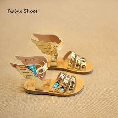 2015 gladiator sandals for girls leather sandals children summer shoes kids flat beach sandals baby wing sandals gold silver
