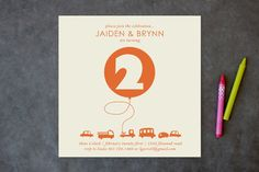 Orange Balloon Children's Birthday Party Invitations by Baumbirdy at minted.com