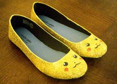 Pikachu Glitter shoes! This etsy store has even more shoes: http://missgeeky.com/2012/06/25/geek-fashion-aisha-voyas-glitter-shoes/#