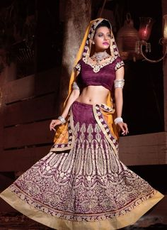 Ravishing Eggplant Lehenga Choli #lehnga #wedding #bridal #shaadi #women #bride #LehengaCholi #ethnic #wear #desiwedding #asianclothes #bollywood #indian #trendz #indiantrendz