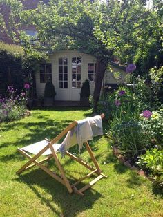 English Cottage Garden Deck Chair Summer House Farrow and Ball Roses and Rolltops : Makeover - Garden Transformation