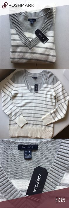"""Nautica striped v-neck sweater Nautica brand striped v-neck sweater. Ribbed waistband and cuffs. 26"""" shoulder to hem. 80% cotton/20% acrylic. Soft feel. Please ask for additional information if needed before purchasing. Nautica Sweaters V-Necks"""