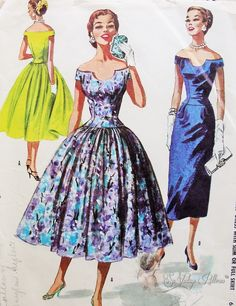 1950s STRIKING EVENING COCKTAIL DRESS PATTERN OFF THE SHOULDERS, UNIQUE NECKLINE, FITTED BODICE, SLIM or FULL SKIRTED STUNNING McCALLS PATTERNS 3687