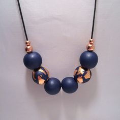 Navy Blue & Copper Foil Polymer Clay Necklace by CKWJewellery