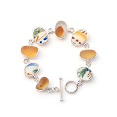 Pottery and Sea Glass Bracelet by Tania Covo
