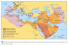 Map of Muslim Empire under Mohammed and the Caliphates