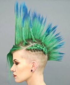 mohawk look from single side undercut with plaited detailing in peacock colours (by PRAVANA on youtube)