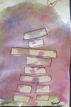 """Painted by a Grade 2 student. Inukshuk to tie together mapping unit and Canada unit....What you would see if you drive across Canada in the North... steps: 1. students tear little pieces of masking tape and """"build"""" an Inukshuk on water colour paper 2. Use water colour to paint Northern Lights over whole paper. Let dry 3. peel off tape to reveal white shape. Students then choose to outline or not."""
