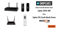 Data Card & Router: Upto 70% off Plus Upto 5% Cash Back from HUJUM on Bestselling Brands like D- Link, Netgear, Tenda and many more. Hurry Up! #ShopcluesCashBackOffers #ShopcluesCoupons #ShopcluesDeals #DataCard #Router #Netgear #Tenda #DLink #Hujum