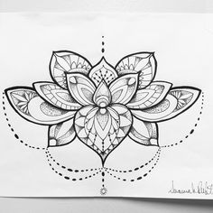 Mandala Lotus flower tattoo concept I created.. Black and white ink.. Possibly watercolor teal, pink, and purple..