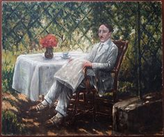 The pergola, first part of the twentieth.  Impressionist painting of a man sitting in a chair under a pergola. This is a high quality painting. The man is depicted with finesse and precision. The colors are refined.  Oil on canvas, signed lower right (to decipher). The painter's identity research could prove to be interesting.  In good condition (see photos).  Format: 10 Figure (10F) standard that is to say 55 cm x 46 cm (21.7 in x 18.1 in).