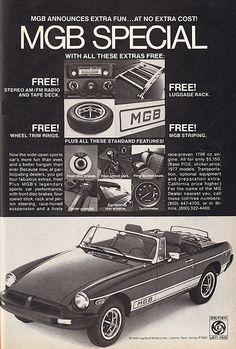 Vintage Car Advertisements of the (Page British Sports Cars, British Car, Mg Mgb, Automobile, Mg Cars, Luggage Rack, Car Advertising, Vintage Advertisements, Car Pictures