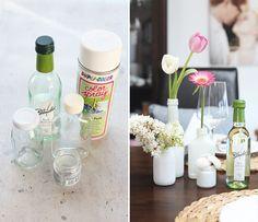 Tischdeko Vasen besprühen Flaschen Blanchet Wein
