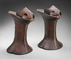 1590-1610, Italy Pair of women's platform shoes (chopines) - Tooled leather over wood, with metallic braid