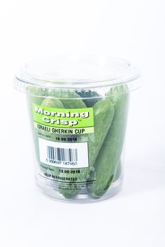 Try our Israeli Gherkin cup, an all-round favourite! Fruits And Vegetables, Crisp, Food Ideas, Tableware, Dinnerware, Fruits And Veggies, Tablewares, Dishes, Place Settings
