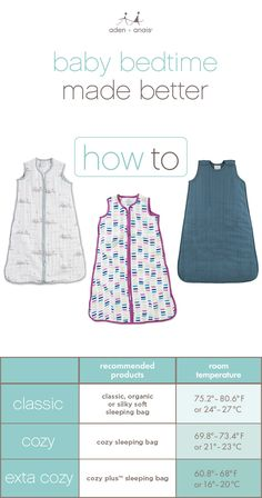Once you know the temperature of your baby's nursery, match this to the sleeping bag that's best for your baby using this simple chart. If only every decision could be this easy!