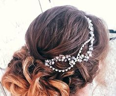 Amazing wedding hair vine made of shiny glass beads different shapes, pearl beads, ceramic pearls and gentle shining crystals. The crystals are shiny and glitter. This item is MADE TO ORDER. Current production time is about 5-7 days. If you require a rush order PLEASE message me