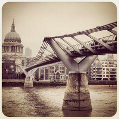 St Paul's Cathedral and Millennium Bridge: London, England