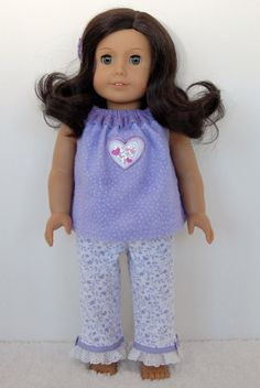 American Girl Doll Clothes 18 inch Doll Clothing Lavender PJs Pajamas Heart via Etsy