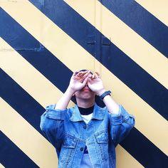 #ootd #fashion #girl #jacket #denim #stripe #casual #kstyle #instagramable #simple #december