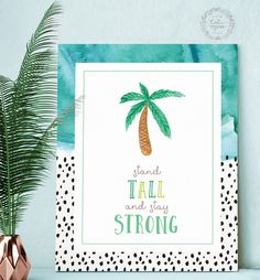Tropical Palm Tree Artwork//Inspirational Quote Art Print//Beach Style decor//Teal Girl's bedroom/Teen bedroom decor/Modern Nursery Wall Art by CaliMossDesignStudio on Etsy https://www.etsy.com/listing/497977316/tropical-palm-tree-artworkinspirational