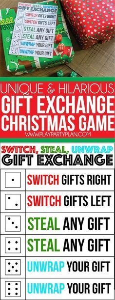 A perfect gift exchange game for kids for adults and even for teens! Simply roll the dice and see where the gifts end up. Definitely one of our favorite Christmas party games ever and itll quickly become a family or office favorite for you too! Xmas Games, Holiday Games, Christmas Party Games, Xmas Party, Christmas Activities, Christmas Traditions, Holiday Parties, Holiday Fun, 21st Party