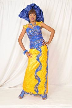 Hey, I found this really awesome Etsy listing at https://www.etsy.com/listing/250892772/yellow-blue-bazin-top-with-wrap-skirt