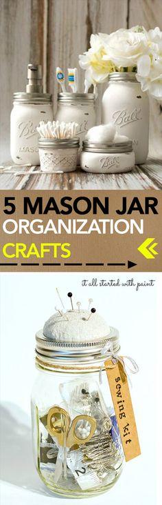 5 Mason Jar Organization Crafts -