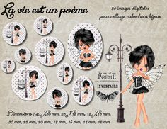 """80 images pour collage digital cabochons bijoux """"la vie : Cabochon par miss-coopecoll"""