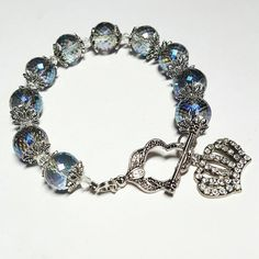 Only $9.19 on Etsy! - SALE Amethyst & Pale Blue Iridescent Glass Beaded Bracelet w/Aurora Boreale Hues + Silver Crystal Encrusted Royal Crown Charm FREE USA SHIPPING https://www.etsy.com/listing/285967091/sale-amethyst-pale-blue-iridescent-glass