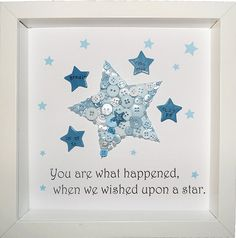 This beautiful star with personalised buttons makes the perfect keepsake for any member of the family. You can determine your own button colours and I am happy to incorporate any special requests you may have, (providing there is room to include them). All frames measure approximately 23cm x 23cm. From the date of order, your artwork will take between 1 and 2 weeks to complete. I will send an initial design proof by email which needs to be approved before the artwork is created. Delivery…