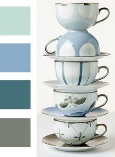 Collection Crémaillère, bleu color/couleur bleu. Marie Daage porcelaine peinte à la main