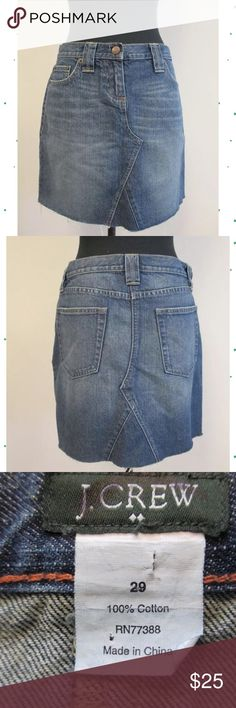 """J. CREW Denim Skirt With Pockets J. CREW Denim Skirt With Pockets. Blue 100% Cotton Jean Short Mini Skirt W Pockets & Belt Loops. Previously loved in good condition. 100% Cotton. Size: 29.                                           Measurements: Waist: 31, Length: 16                                                                    ❌Trades ❌Holds ❌ Lowball Offers  ✅ Use the """"ADD TO BUNDLE"""" link to get 15% off discount on 2+ items ✅  Posh Rules  👍😘 J. Crew Skirts Mini"""