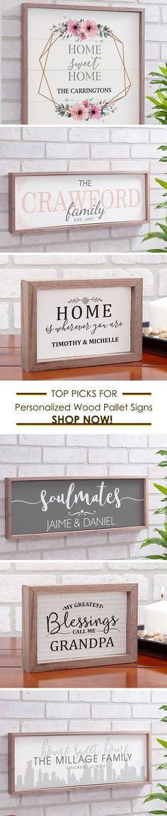 Our beautiful pallet style signs are customized for you with names, dates, your message and more! Shop at Gift For You Now for your favorite wooden signs look to brighten your indoor decor today.