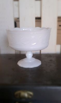 Vintage White E.O. Brody Milk Glass Compote Candy Dish