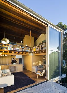 This small home in New Zealand is enormously clever! Architect Andrew Simpson of WireDog Architecture designed the Island Bay House using Japanese-inspired principles that make the small interior feel spacious and beautiful. Residential Architecture, Interior Architecture, Lounge Suites, Small House Design, Japanese House, Modern Spaces, House And Home Magazine, Interior Exterior, New Homes