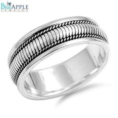 Abstract Unique Design Comfort Fit Men's Band Ring Solid 925 Sterling Silver Wide Mens Ring Fashion Ring Plain Simple Metal Silver Ring