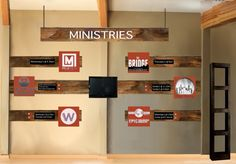 ministry wall - this could be a way to put info  about the church - connection groups, children's ministry, etc.
