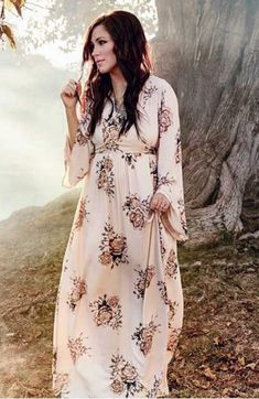 bf17ada8a5ee Boho maxi Vintage Floral cotton flare sleeve Dress