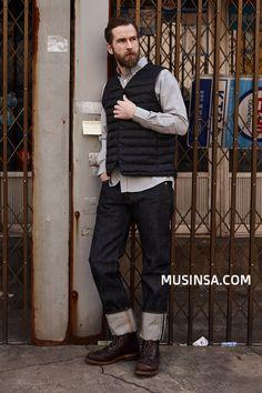 기타 서울_Jeff_남자_데님인디고마스터_셀비지_데님팬츠_워크웨어_아메리칸캐주얼 Street Fashion, Men's Fashion, Workwear, Vests, Archive, Dress Up, Street Style, Culture, Denim