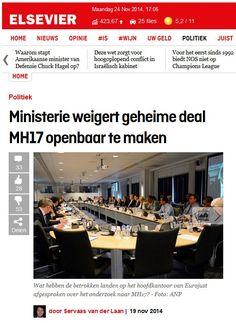 Agendasetting theorie - voorbeeld van de Elsevier website over de neergehaalde MH17. Het artikel zegt dat het ministerie de Nederlanders niet wil informeren over welke deal ze hebben gemaakt. Degene die dit schrijft bepaalt dat de lezer hierover na gaat denken en hier iets van gaat vinden.