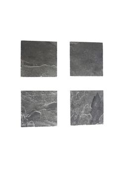 """Set of four handcrafted Vermont Slate Coasters. Complete with a soft cork bottom. Made in Buffalo NY by Nick Janecki.  Measure about 3.75""""x3.75"""".  Vermont Slate Coasters by Ró . Home & Gifts - Home Decor - Dining - Table Accessories Buffalo New York"""